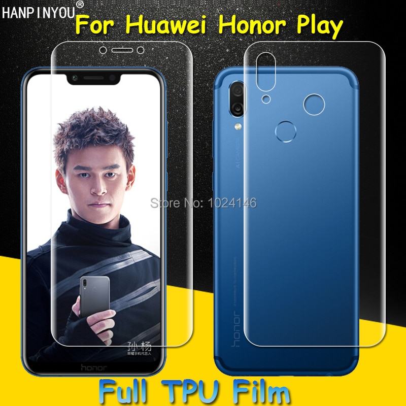 Front/Back Full Coverage Clear Soft TPU Film Screen Protector For Huawei Honor Play , Cover Curved P