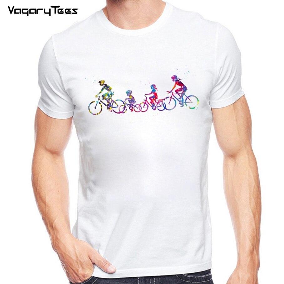 Dripping acuarela familia montar bicicleta camiseta verano hombres Hipster blanco camiseta moda Popular novedad Tops Tee ropa