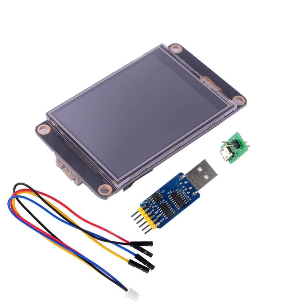Nextion-شاشة HMI LCD تعمل باللمس محسّنة 2.8 بوصة NX3224K028 CP2102 ، محول منفذ تسلسلي USB إلى TTL 6 في 1