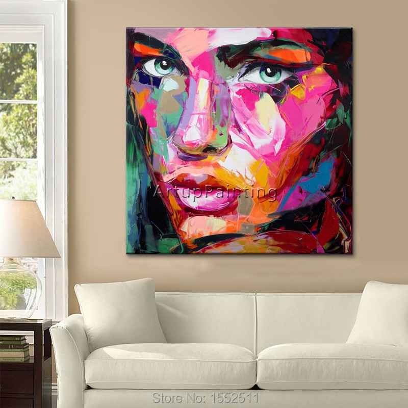 Peinture à lhuile sur toile   Peinture faciale sur toile, Francoise Nielly, images dart murales pour salon, texture lourde, couteau de Palette, décoration de caudros