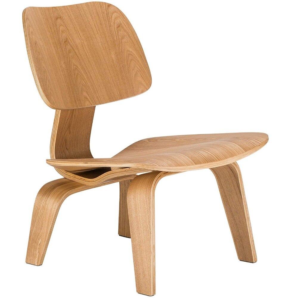 Silla de salón de madera contrachapada moldeada con patas de madera, madera de Fresno Natural para muebles de salón, réplica de silla de madera con acento de medio siglo