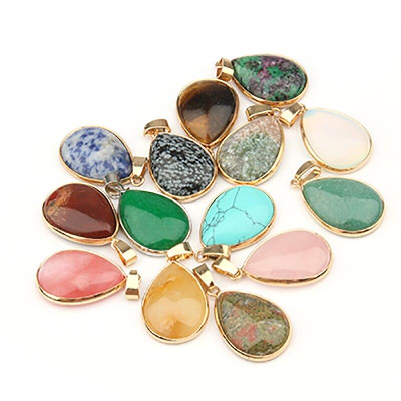 Piedra Natural gota de agua colgante colgantes de forma ágatas/cuarzo rosa/Tigre ojo encantos para collares de joyería 3,5*2,4*0,7 cm