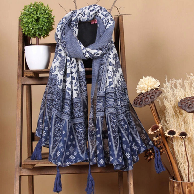 Новый Дизайн Модный племя сине-белый фарфоровый принт хлопковый и льняной шарф шаль женский пляжный Понч с бахромой и кисточкой