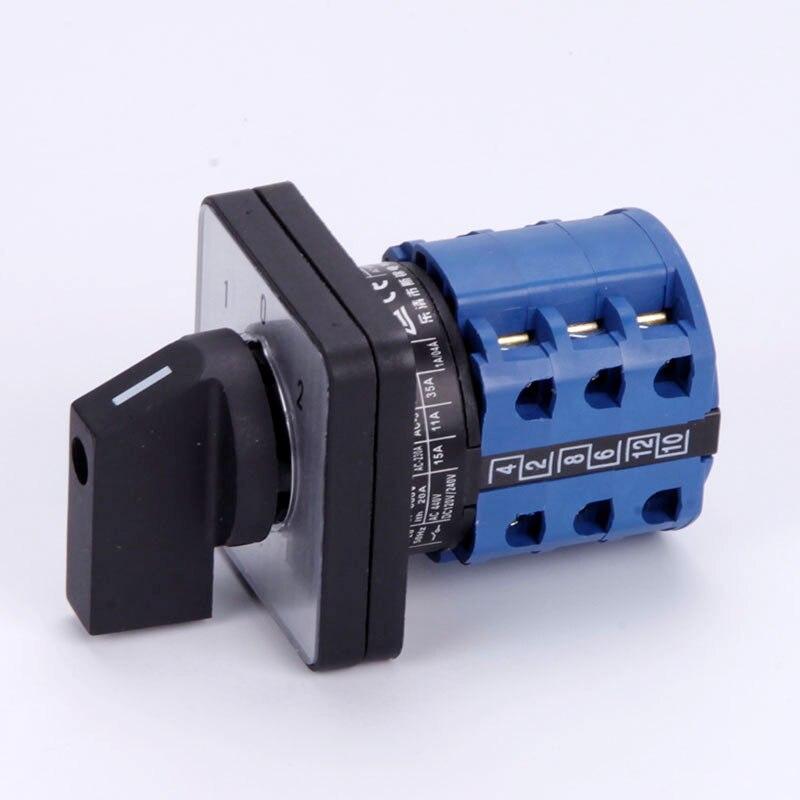 Reemplazo CA10 LW26-20 interruptor de cámara giratorio 20A 1-0-2 ON-OFF-ON 3 polos 12 terminales K & N reemplazo