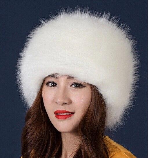 2018 Women Hats Lady Russian Tick Fluffy Imitation Fox Fur Hat Headband Winter Earwarmer Ski Hat Fem