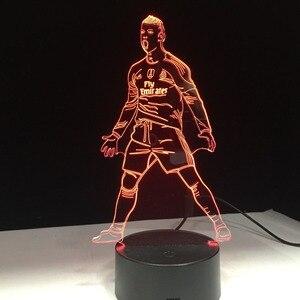 Футбольный футболист 3D модель лампы акриловая панель 7 цветов светодиодный Ночной светильник, подарок на Новый год, семейное украшение, Пря...