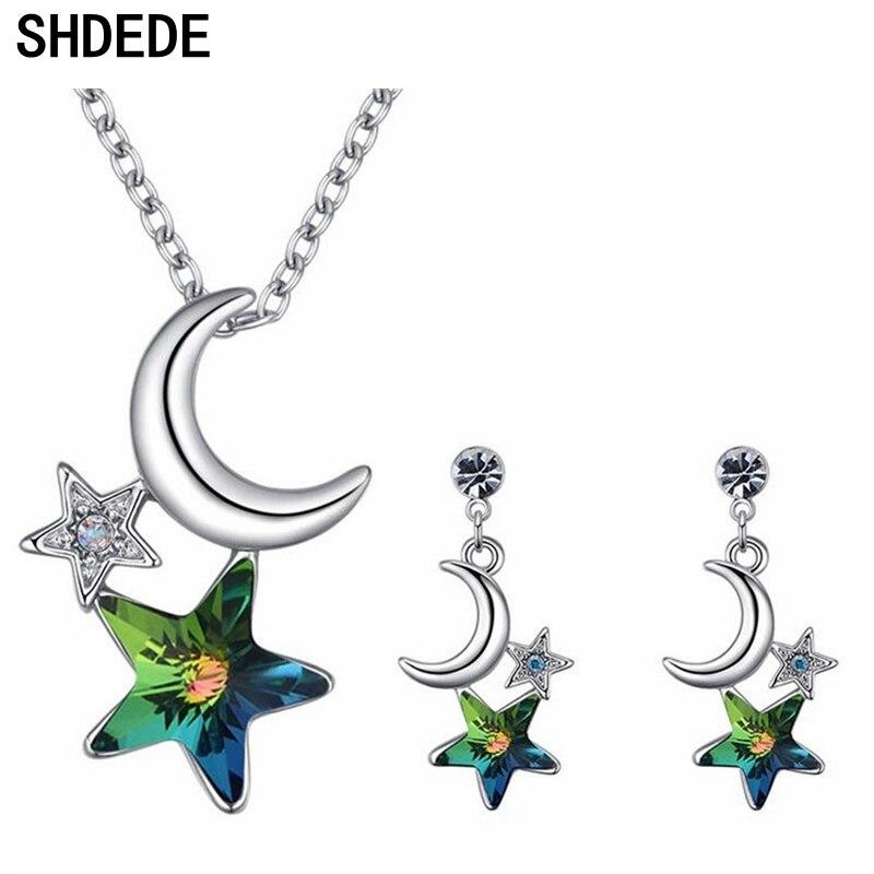 SHDEDE conjuntos de joyería de moda Cristal de Swarovski estrella y Luna collar pendientes Mujer Accesorios regalo de aniversario-26344