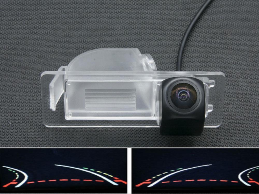 Lente ojo de pez 1080P trayectoria pistas vista trasera de coche cámara para Skoda Rapid Volkswagen nueva Santana 2013 2014 2015 Cámara de marcha atrás