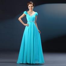 Robe demoiselle d'honneur sexy Vneck chiffon crystal short sleeve A Line turquoise royal blue pink wedding guest dress long