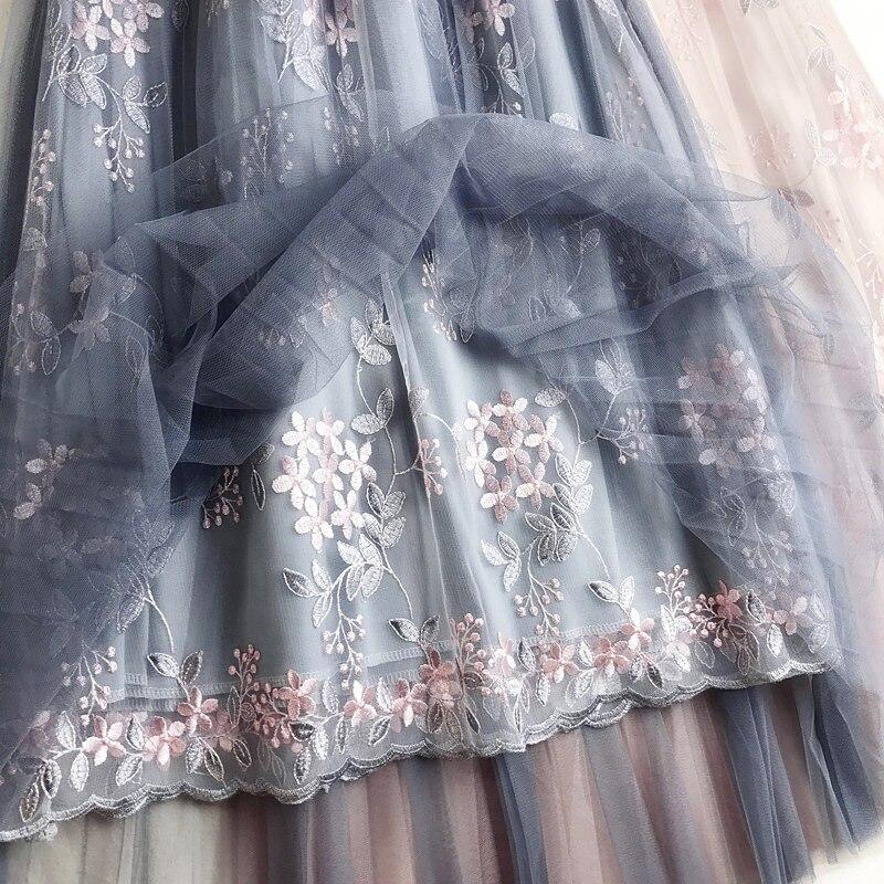 2019 verano Floral bordado tul faldas de alta cintura Una palabra Falda larga de cintura alta plisada falda femenina tutú faldas