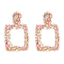 KMVEXO Vintage Metal Statement Earrings For Women 2020 New Pink Blue Crystal Fashion Drop Dangle Earrings Wedding Jewelry Gift