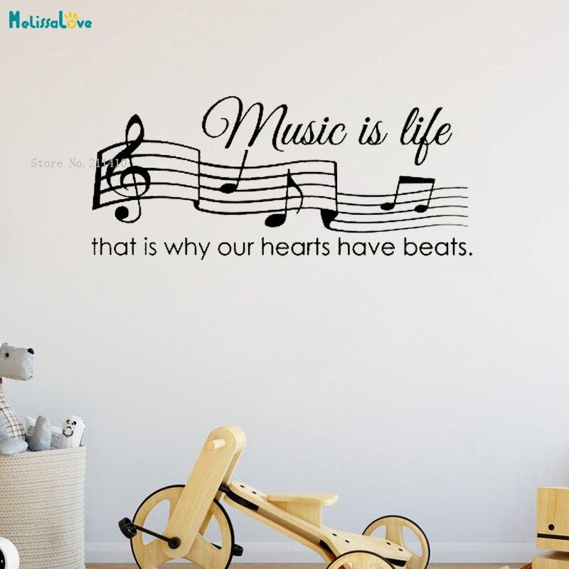 Música es la pared de la vida pegatina cita arte decir regalos decoración del hogar diseño lindo auto-adhesivo murales vinilo estilo estético YT1698
