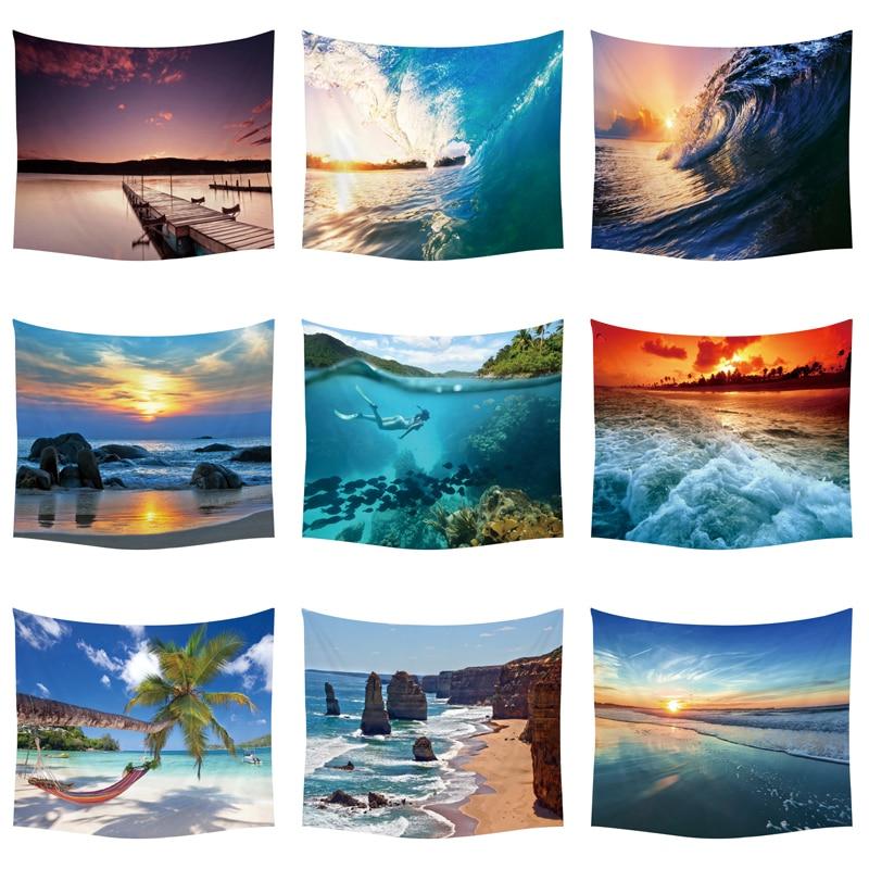 Plantas tropicais palmeira pôr-do-sol tapeçaria tapeçaria oceano onda piquenique poliéster praia decoração navio cobertor starfish tapeçaria