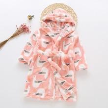2020 New Soft Children's Robes for 2-6 Years Baby Kids Pajamas Boys Girls Cartoon Sleepwear Bathrobes Kids Hooded Baby Robes
