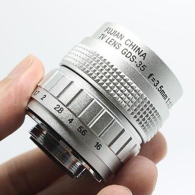 Lente CCTV F1.7 de 35mm para E-P3, E-P2 E-PL3 GF3 GF2 GH2 G2 G3 C, montaje en plata, Macro, lentes de enfoque