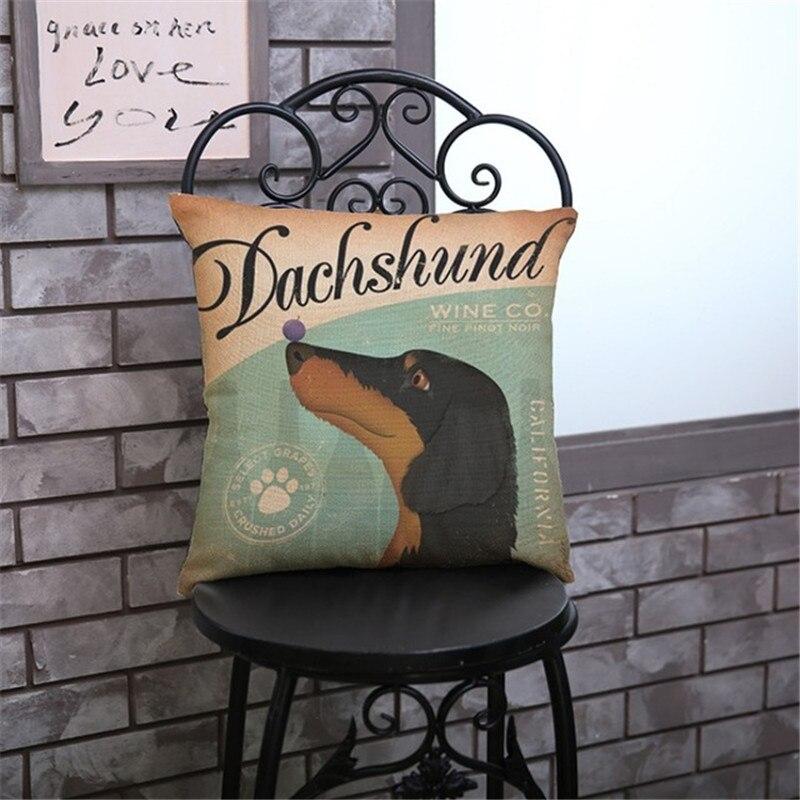 Vintage jamnik czarny szary brązowy pies szczeniak z zestawem słuchawkowym Home Decor poduszki pościel poszewki na poduszki Cojines