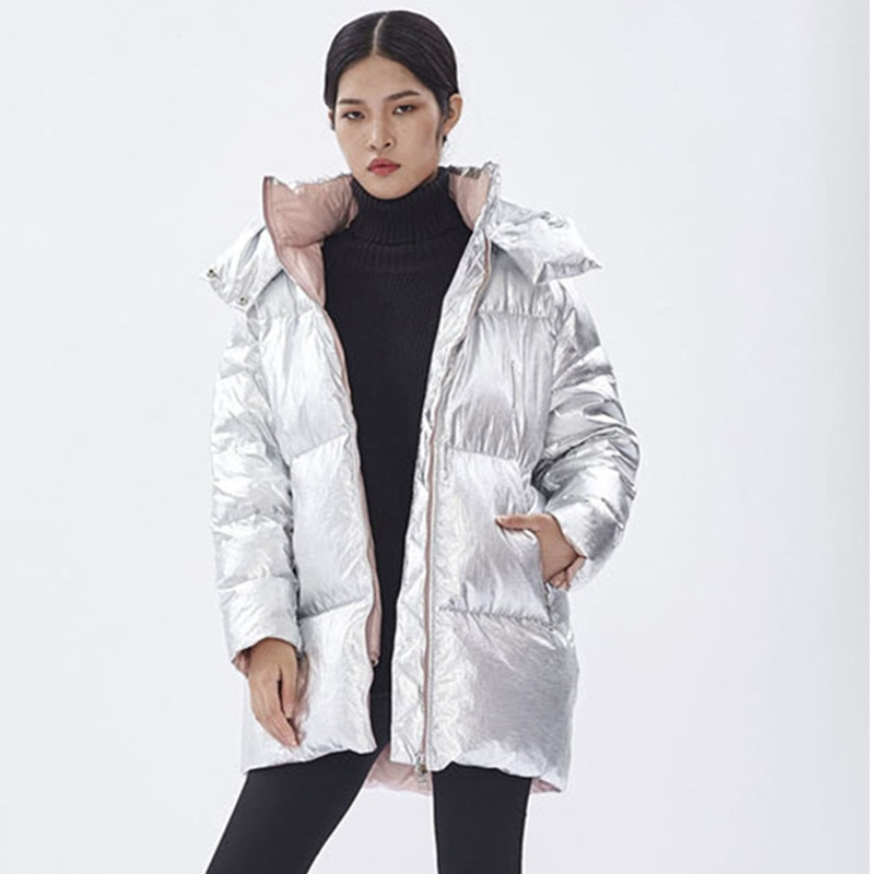 YNZZU Winter Women's Down Jacket High Quality Bright Embroidery Duck Down Coat Women Thick Warm Hooded Female Jacket O694 large real fur collar women winter coat thick warm hooded down jacket duck down loose long outwear coat outdoors