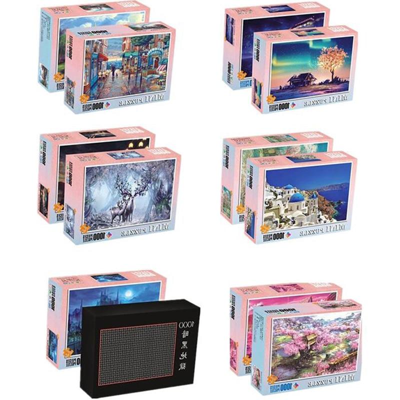 Мини-Пазлы с пейзажем, 1000 шт., пазлы из бумаги для взрослых, Мультяшные головоломки для детей, развивающие игрушки, подарки