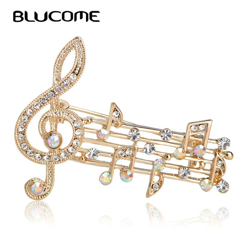 Blucome belle blanc Note broche cristal or couleur broches chemises Corsage Cardigan pull col épingle épaule accessoires