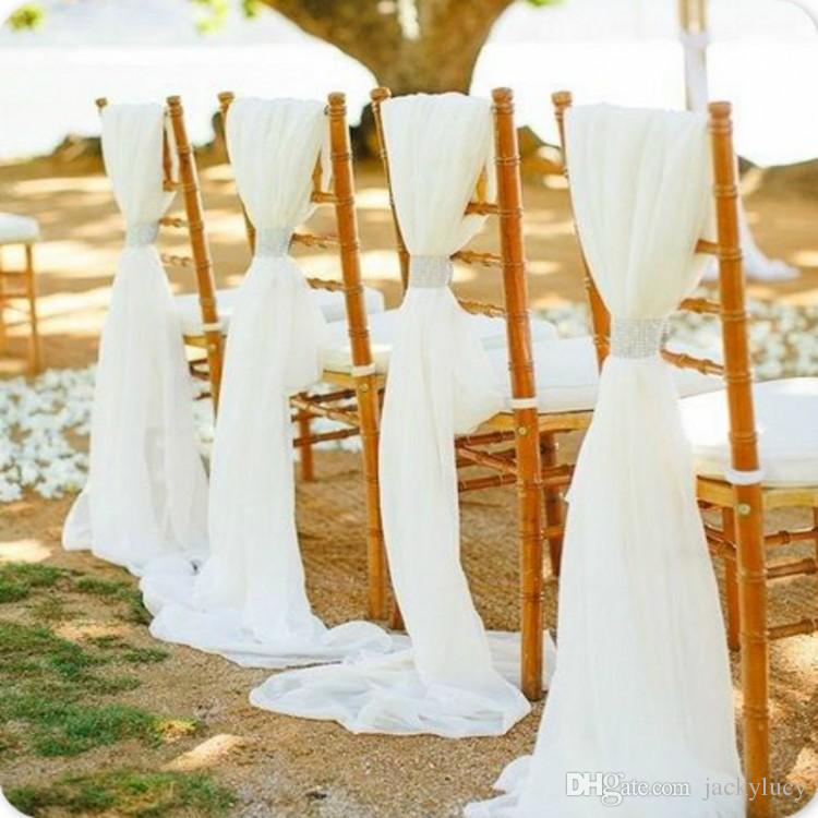 Funda para silla de boda blanca lujosa de 180X280 cm de chifón y fajas, decoración trasera de 50 piezas para silla de banquete o fiesta de boda romántica