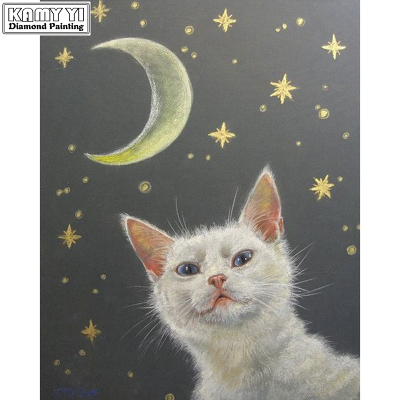 5d diy pintura de diamante bordado de dibujos animados punto de cruz gato blanco Luna de diamantes mosaico decoración bordada con aguja arte decoración del hogar regalo XY1