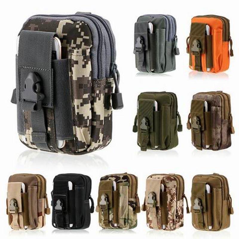 100 unids bolsa militar al aire libre correa de cintura pack tactical holster teléfono case carpeta de la bolsa con cremallera para iphone samsung lg htc