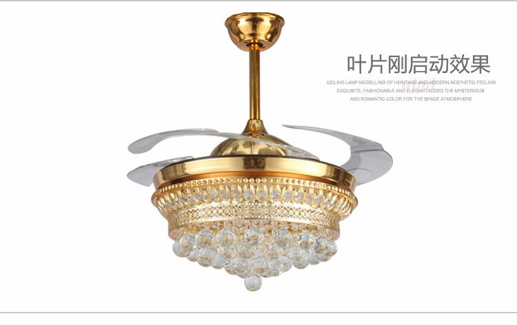 Smart LED 42inch Invisible K9 Crystal Ceiling Fan Modern/Contemporary Living Room Remote Control Led Fan Lights Bedr  - buy with discount