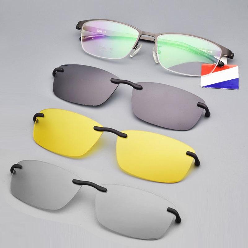 Half Frame Brown Titanium Eyeglass Frame Man With Clip On Sunglasses Magnetic Set Spectacles Night V
