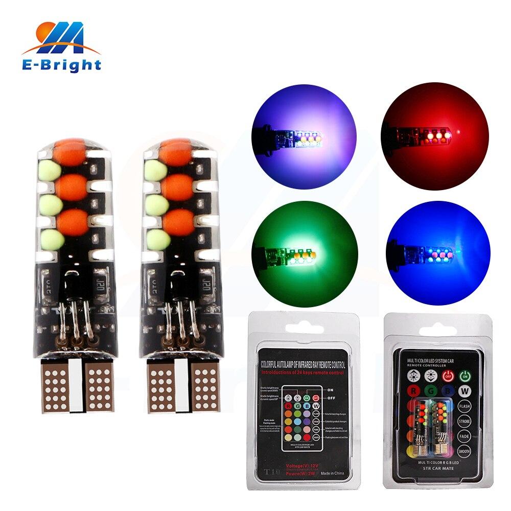 2 uds/1 set 12V T10 COB 12smd RGB SILICA Led bombillas coche indicador de señal trasera lámpara esquina luces con controlador