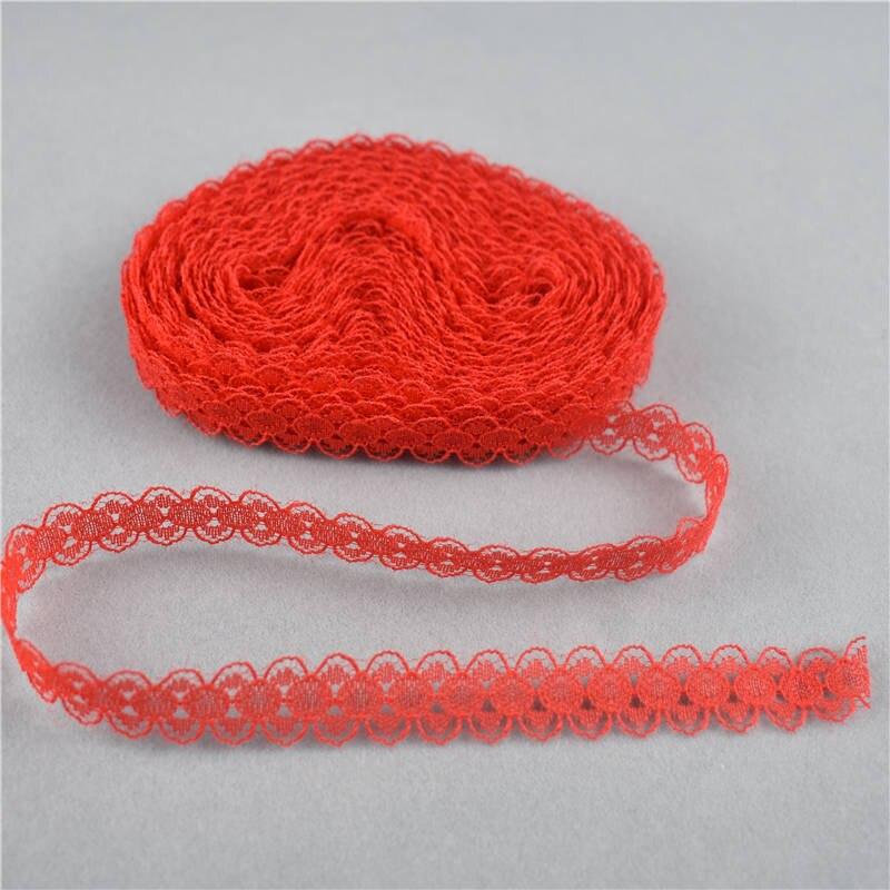 10 yardas de hermosa cinta de encaje rojo 14MM de ancho tela de encaje africano Red bordada de bricolaje adornos de encaje para coser Decoración