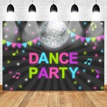 Dança tema festa pano de fundo para fotografia aniversário amigos festa foto fundo neon música listra estrelas brilhantes pano de fundo personalizado