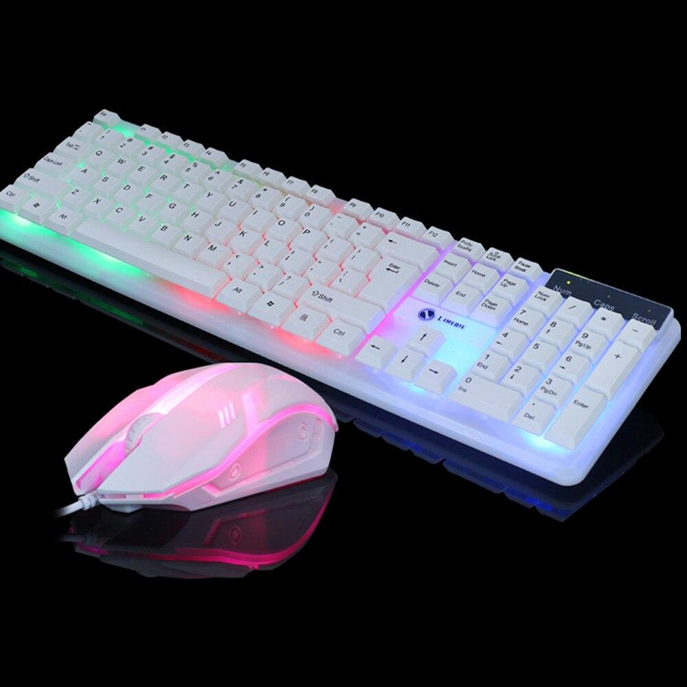 VOBERRY, para T11, Color, retroiluminación LED, Cable USB, PC, juego de teclado y ratón arcoíris, sensación mecánica