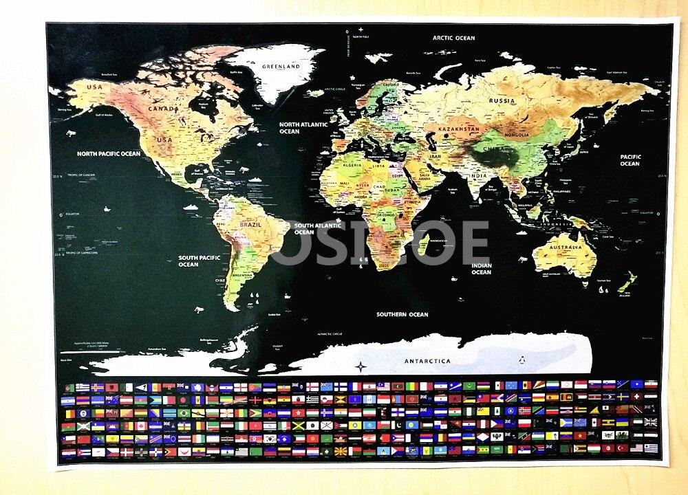 Mapa de rascar personalizado bandera del mundo Mapa de rascar Mini rasguño cartel de revestimiento de capa de aluminio pegatinas de pared 82,5x59,5 cm