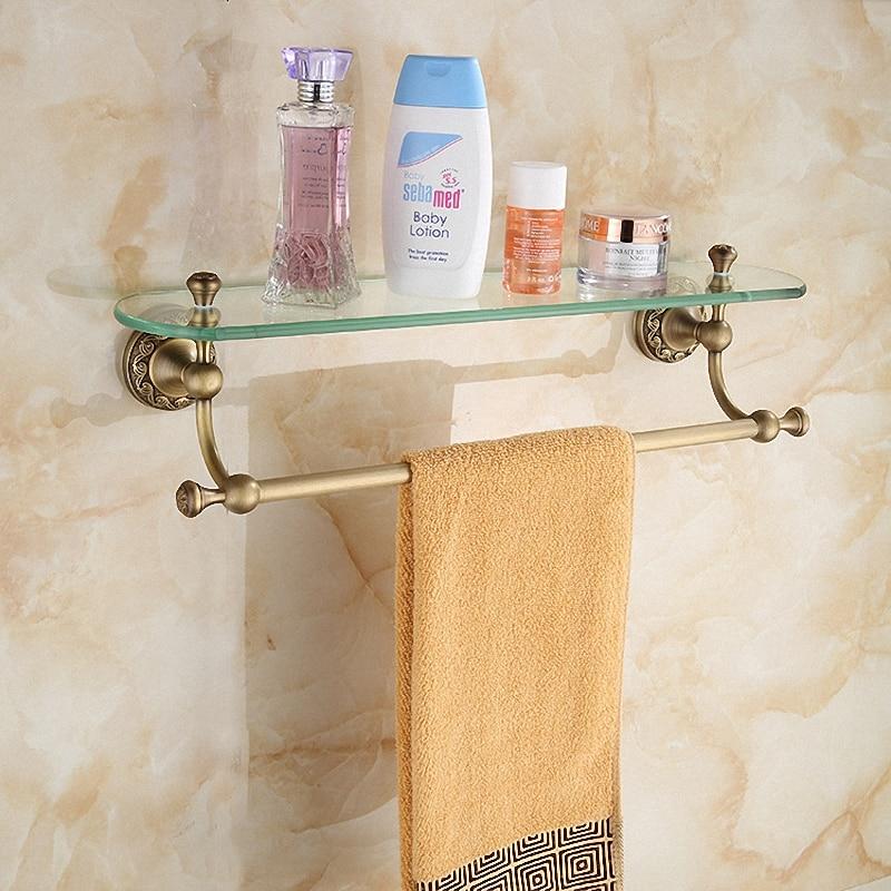 Аксессуары для ванной комнаты Античная латунная коллекция, стеклянная полка с полотенцем, роскошный Европейский Лондонский стиль для дома...
