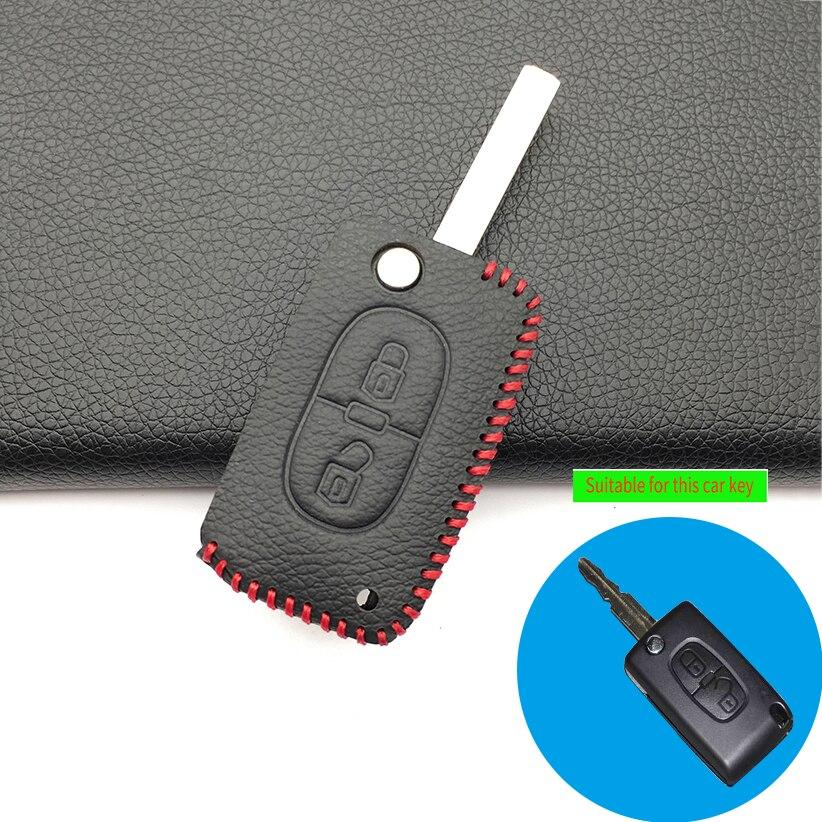 Para Peugeot 207 307 308 407 408 para Citroen C3 C4 C5 C6 C4L 2 botones oferta especial funda protectora de cuero para llave de coche