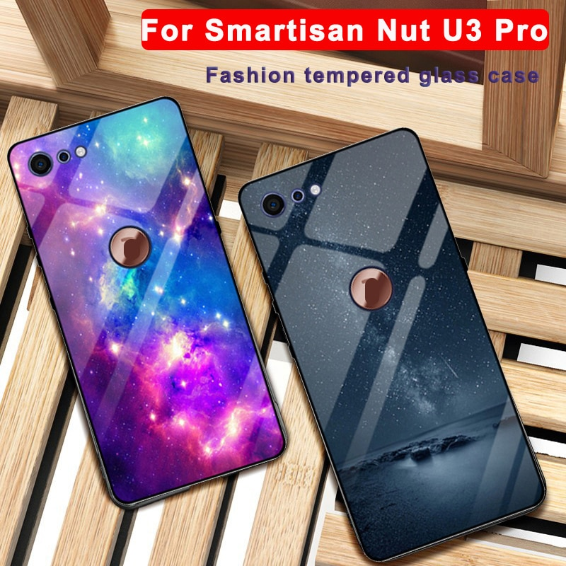 Para Smartisan Porca U3 Pro caso céu Estrelado Borda de Vidro temperado + TPU Capa Dura Para Smartisan Porca U3Pro caso OS105 shell pele