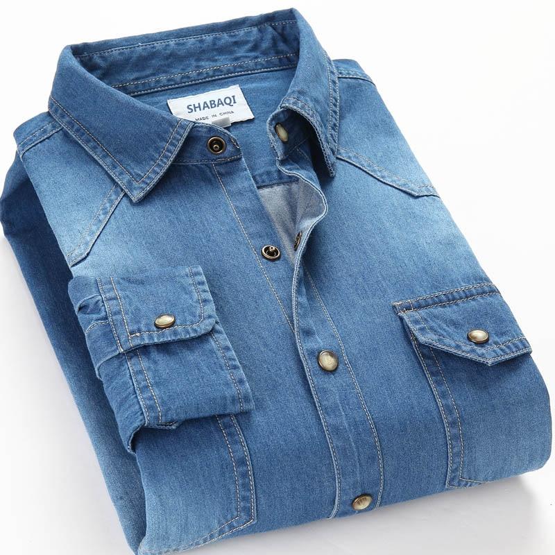 Джинсовая рубашка Schinteon мужская с длинными рукавами, мягкая приталенная джинсовая немного эластичные из 100% хлопка с двумя карманами, ковбой...