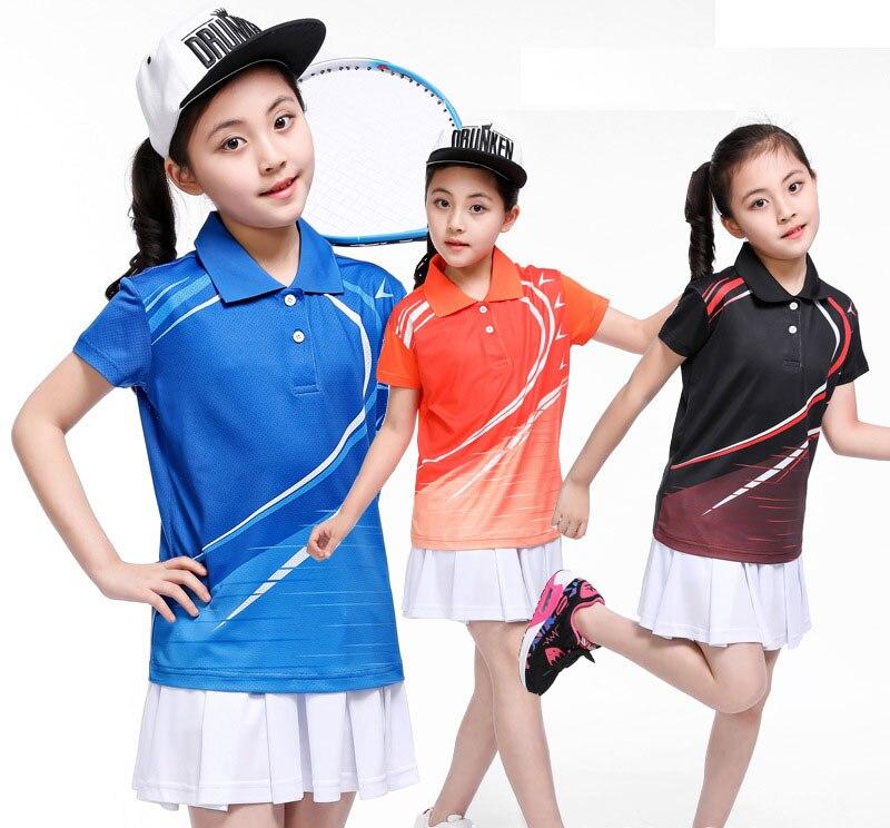 Meisjes tenis masculino, china tafeltennis shirt, Kinderen korte mouwen tafeltennis pak, kids badminton shirt, sport jerseys