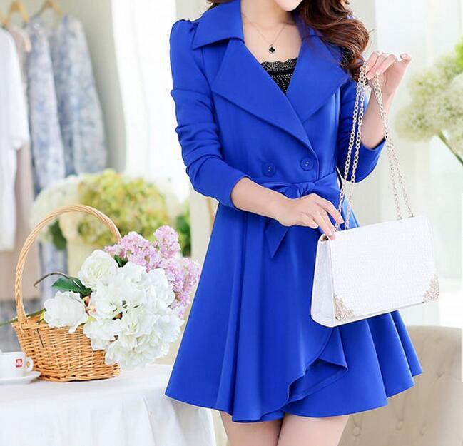 XL-5XL الساخن/الربيع النساء جديد الأزياء طويلة مزدوجة الصدر خندق معطف ساحات كبيرة من زراعة المرء الأخلاق
