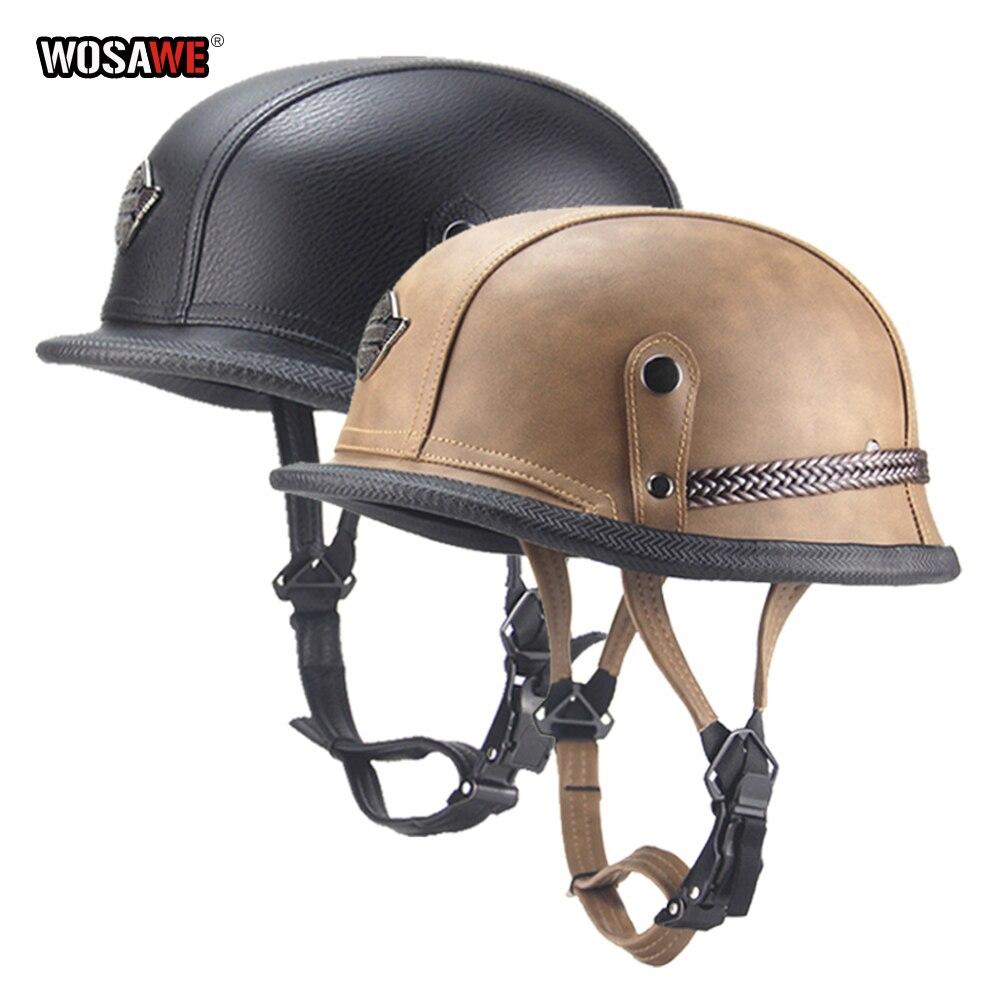 WOSAWE rétro Style militaire allemand Moto demi casque Dot Moto Cruiser Chopper casques ABS + cuir PU M L XL