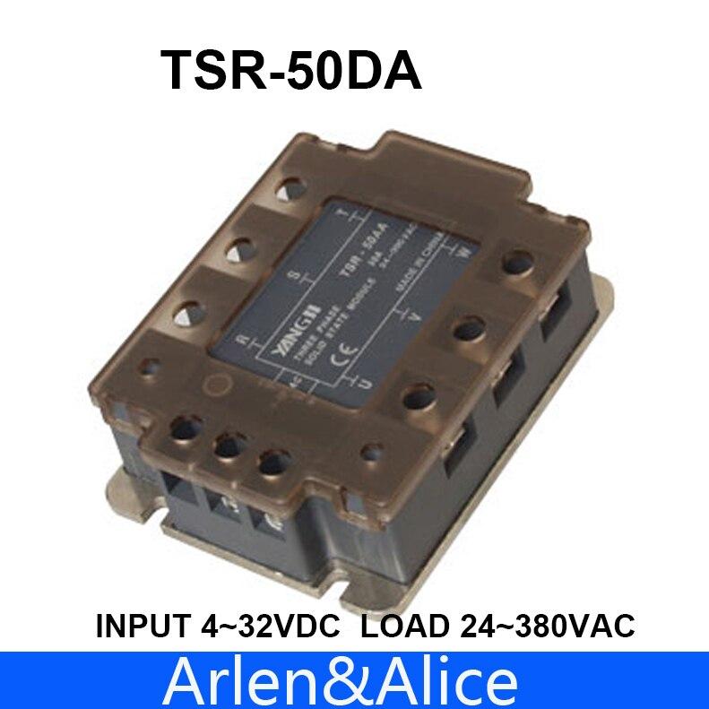 50DA TSR-50DA entrada trifásica SSR 4-32V carga de CC 24-380V AC relé monofásico de estado sólido