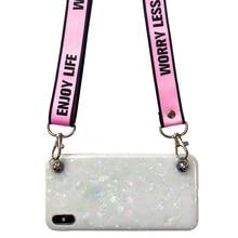 foil strap tpu case for xiaomi mi A2 A1 6 8 lite 9 se play redmi note 7 case cover glitter sequins shoulder lanyard soft silicon