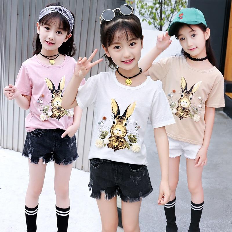 Camisetas de manga corta de verano para niñas, camisetas de algodón para adolescentes, Impresión de caricatura de conejo, camiseta para niñas