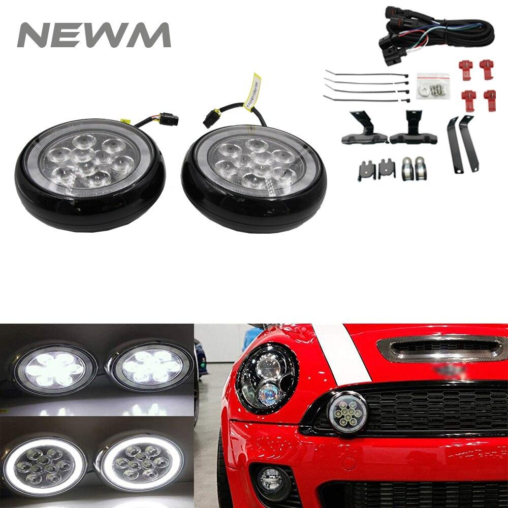 Luces antiniebla diurnas para MINI Cooper R50 R52 R53 carcasa cromada blanca luces LED de posición de conducción de Rally parachoques delantero