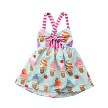 Toddler Kids Baby Girls Dress Elegant Ice cream Strap Backless Party Princess Dress Sundress Summer Clothes
