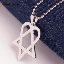 RongXing Chic Triangle coeur étoile pendentifs argent perles chaîne cœur agramme colliers pour femmes hommes en acier inoxydable tour de cou bijoux