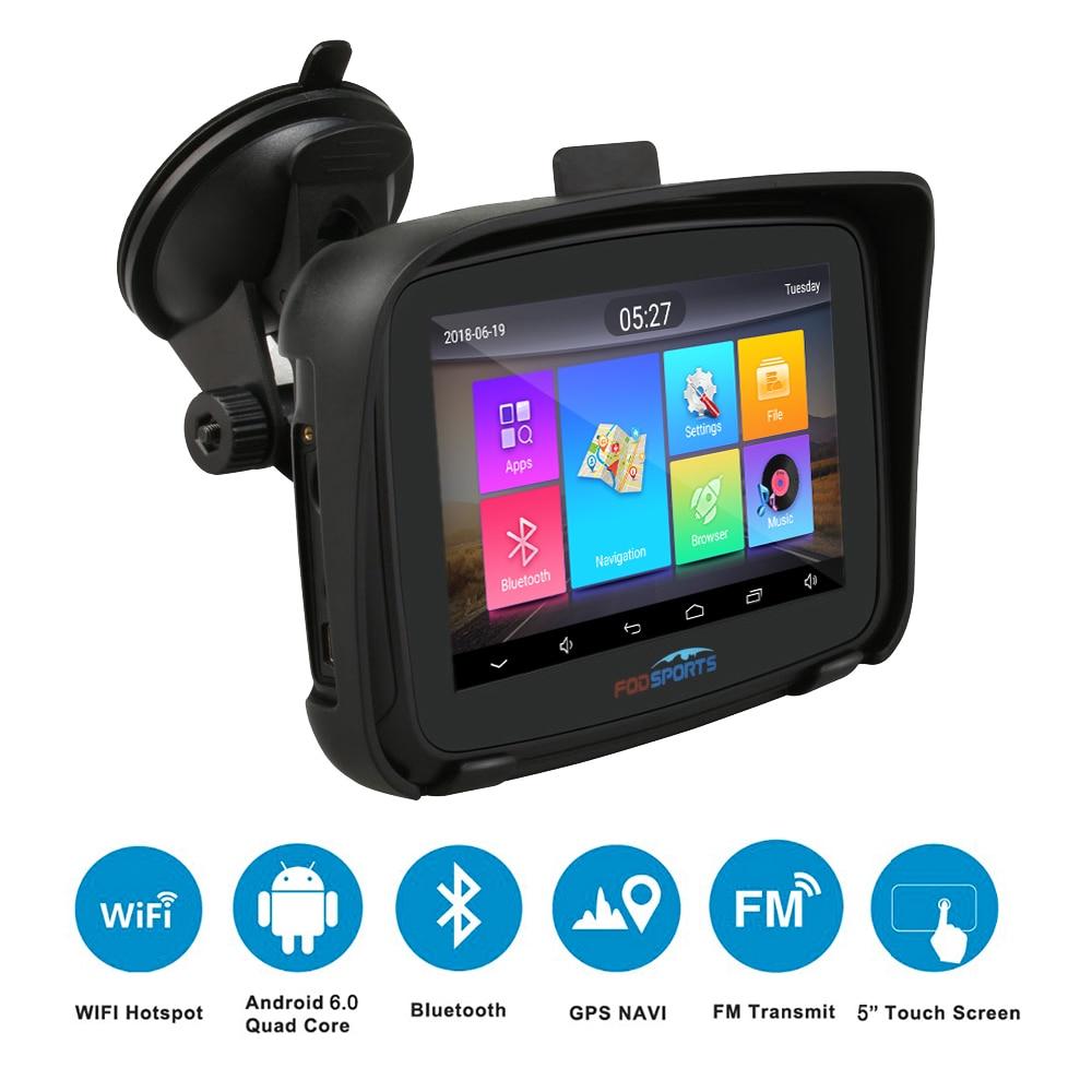 Fodsports 5 дюймов мотоцикл GPS навигация Android 6.0 WIFI водонепроницаемый Bluetooth автомобиль мото GPS навигация IPX7 RAM 1G ROM 16G