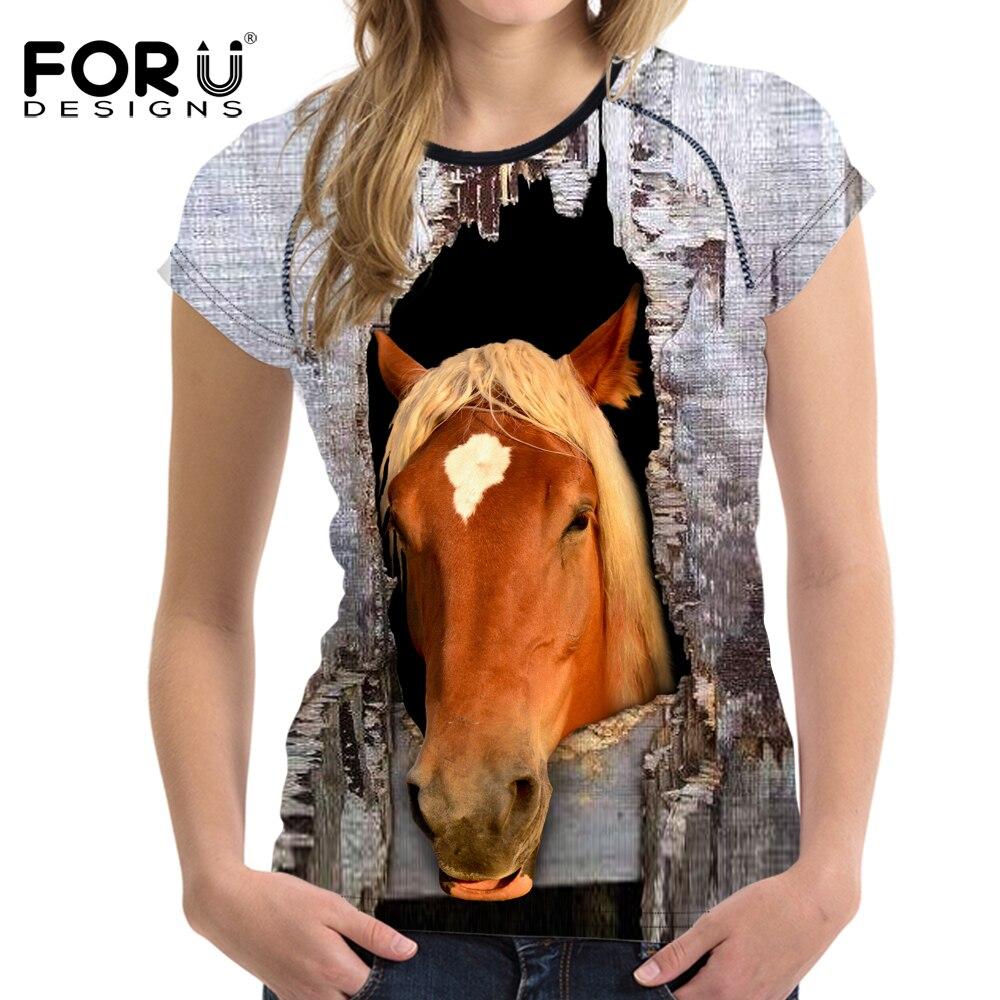 FORUDESIGNS femmes cheval t-shirt haut pour femme t-shirts Humor femme chemise col rond Style dété t-shirt décontracté Fitness t-shirt femme S-XXL