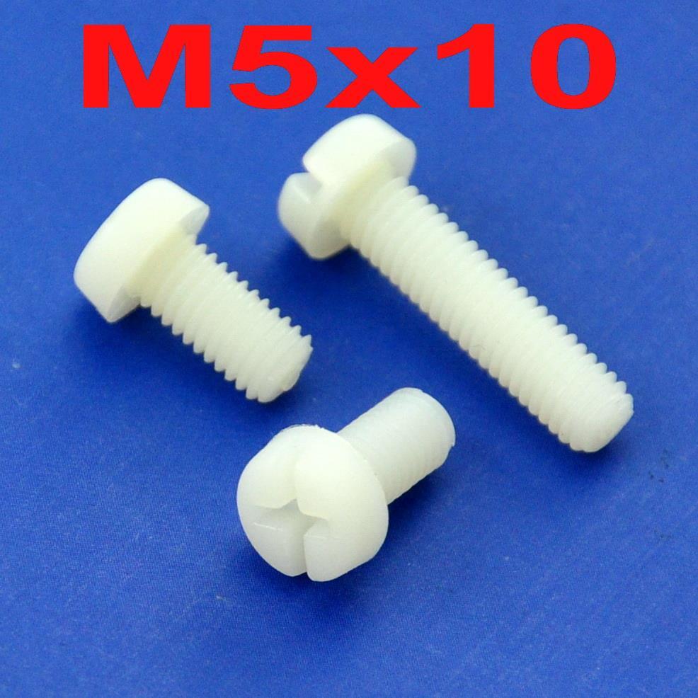 (100 unids/lote) métrica M5 x 10mm Nylon Phillips ranura/Pan-Header tornillo