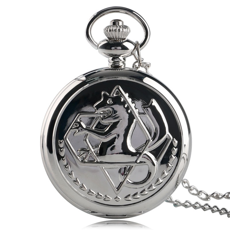 Pocket Retro Silver Quartz Pocket Watch Men Fashion Japanese Anime Fullmetal Alchemist Necklace Fob